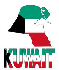 Kuwait map flag and text illustration