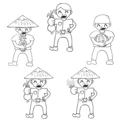 Set cartoon character farmers with a crop of vegetables and frui