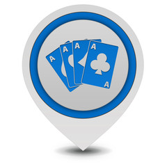 Cards pointer icon on white background