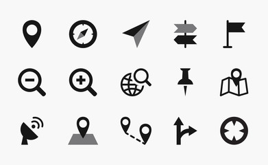 map icons, mono vector symbols