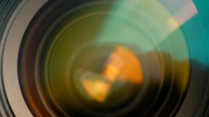 Closeup of a zooming camera lens. Ultra HD