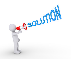 Person giving solution through megaphone