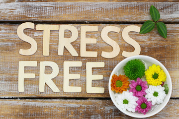 Stress free written with wooden letters and santini flowers