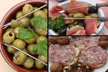 Tapas :Jambon cru olives Casse croûte