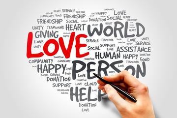 Love heart words cloud concept