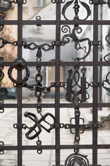 Unique metal gates in old part of historic Lvov, Ukraine