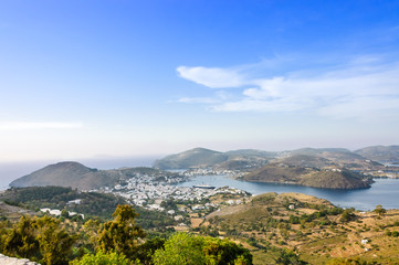 Patmos island scenic view in the mist