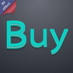 Buy icon symbol. 3D style. Trendy, modern design