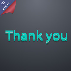 Thank you icon symbol. 3D style. Trendy, modern d