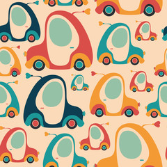 Seamless pattern with colorful retro cars.