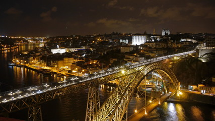 Porto after sunset, Portugal. Timelapse