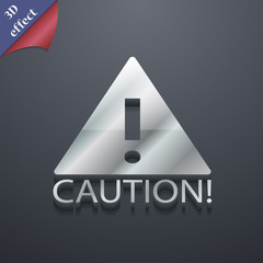 Attention caution icon symbol. 3D style. Trendy, mo