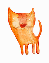 red cat with a smile. watercolor