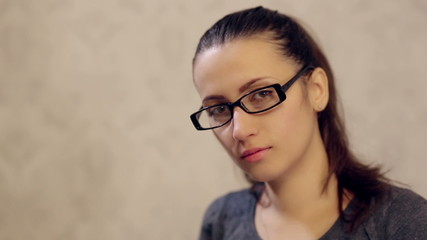 Woman in Glasses Posing for Camera