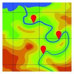 Topographic map with marks
