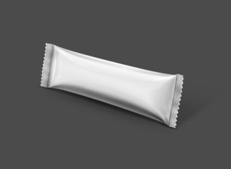 blank stick pouch isolated on gray background