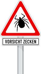 Schild mit Warnung vor Zecken