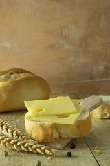 A small slice of bread and cheese on a rustic background