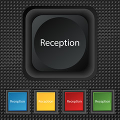 Reception sign icon. Hotel registration table symbo