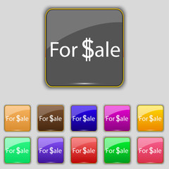 For sale sign icon. Real estate selling. Set of colore