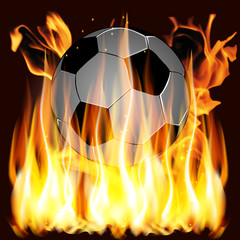 flames and Soccer ball