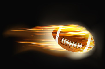 ball for American football on fire