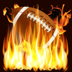 ball for American football in the fire