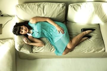 Retro girl on the Sofa