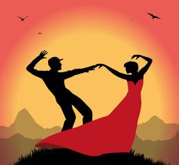 ballerini al tramonto