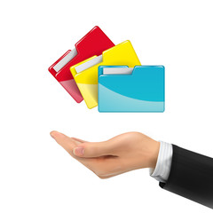 3d hand holding colorful folders