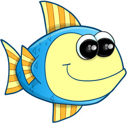 Happy Fish Vector Illustration Art