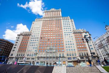 Edificio Espana facade view on a sunny spring day in Madrid