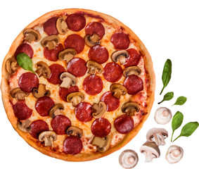 Italian pizza with mushroom salami