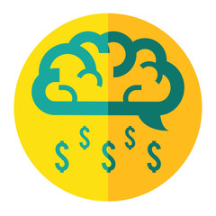 brain cloud make money rain business icon