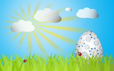 Easter grass ang egg