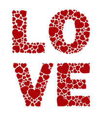 """vector word """"love"""" made of small hearts"""
