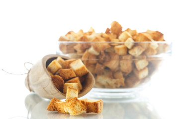 homemade fried bread croutons