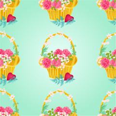 Seamless texture flower basket celebration background vector