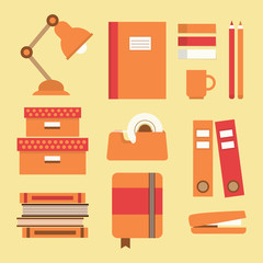 Office supplies and stationery icons set
