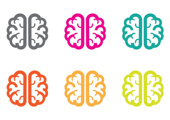 brain color icon on white background