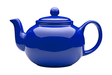 Blue Ceramic Teapot (clipping path)