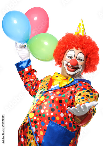 Portrait of a smiling clown isolated on white - 76378271