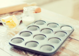 close up of empty muffins molds
