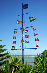 Mast with flags flying