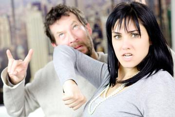 Woman hitting cheating husband