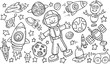 Outer Space Doodle Vector Illustration Art Set - 76378687
