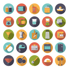 Flat Design Cooking And Kitchen Vector Icons Set