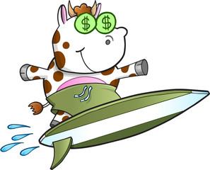 Surfing Cash Cow Vector Illustration Art