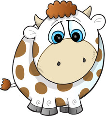 Sad Farm Cow Vector Illustration Art