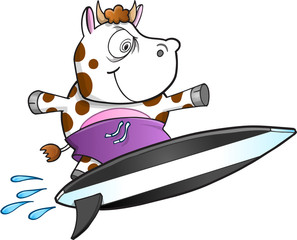 Evil Insane Surfing Cow Vector Illustration Art